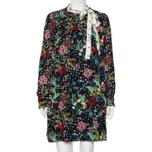 Valentino Black Camu Garden Printed Silk Neck Tie Detail Mini Dress L