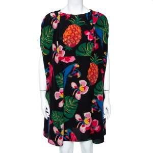 Valentino Black Havana Printed Silk Cape Overlay Shift Dress M