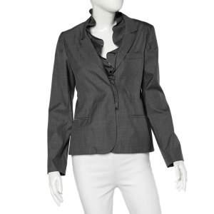 Valentino Grey Silk Ruffled Neck Button Front Blazer L