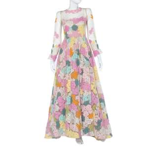 Valentino Multicolor Floral Lace & Tulle Long Sleeve Gown S
