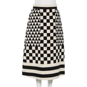 Valentino Checkered Monochrome Wool Midi Skirt M