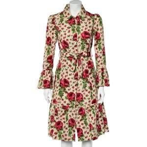 Valentino Cream Floral Printed Satin Belted Shirt Dress M