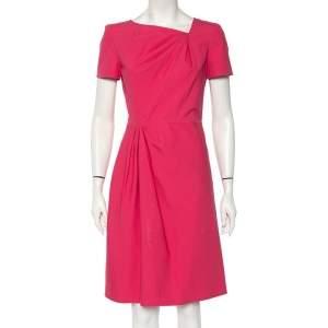 Valentino Technocouture Pink Cotton Asymmetrical Neck Detail A-Line Dress M