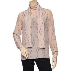 Valentino Light Pink Triangle Printed Silk Neck Tie Detail Top M
