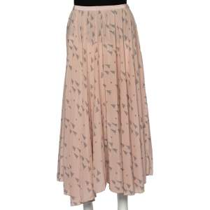Valentino Pink Triangle Printed Silk Midi Skirt S