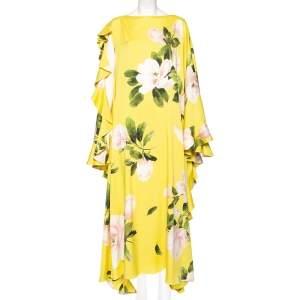 Valentino Yellow Silk Peony Print Asymmetrical Ruffled Gown L