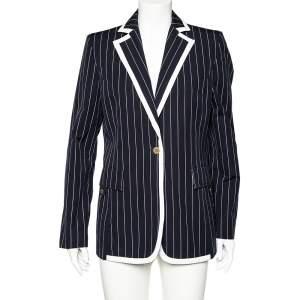 Valentino Midnight Blue Striped Cotton Button Front Blazer L
