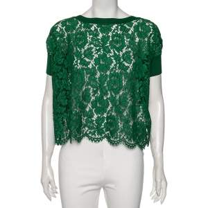 Valentino Green Lace And Knit Trim Oversized Top S