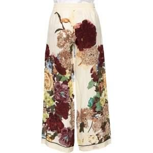 Valentino Cream Floral Printed Silk Palazzo Pants S