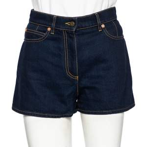 Valentino Blue Denim VLogo Detailed High Waisted Shorts S