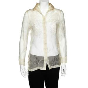 Valentino Cream Embroidered Silk Sheer Shirt M