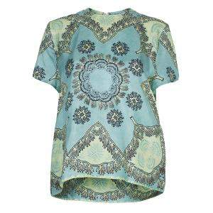 Valentino Mint Green Printed Short Sleeve Silk Top M