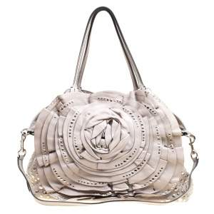 Valentino Grey Leather XL Petale Rose Studded Tote