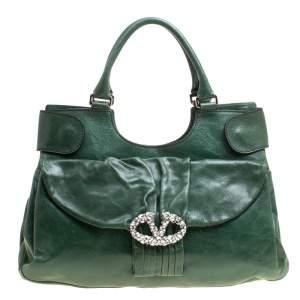 Valentino Green Leather Crystal Catch Shoulder Bag