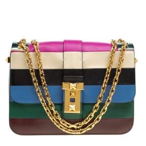 Valentino Multicolor Striped Leather B Rockstud Shoulder Bag