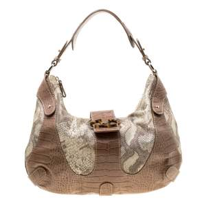 Valentino Beige Croc Embossed Leather and Python Print Canvas Hobo