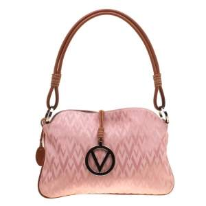 Valentino Pink/Brown Fabric and Leather Logo Charm Shoulder Bag