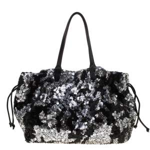 Valentino Black Sequins and Leather Glam Tote