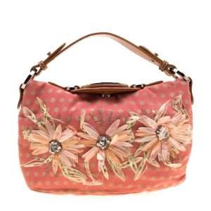 حقيبة يد فالنتينو مزخرفة زهور جلد وكانفاس تنقيط بولكا بنية/ بني محمر