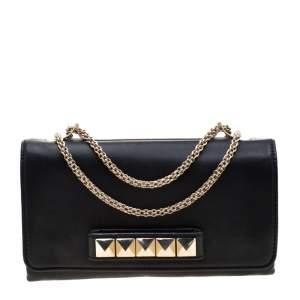 Valentino Black Leather Va Va Voom Chain Shoulder Bag