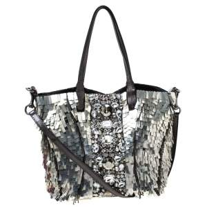 Valentino Black/Silver Crystal Embellished Satin and Leather Tote