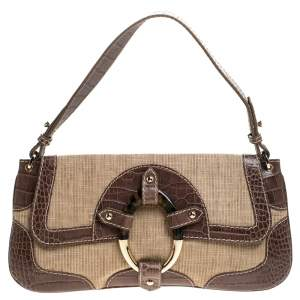 Valentino Beige/Grey Fabric and Crocodile Embossed Leather Flap Bag