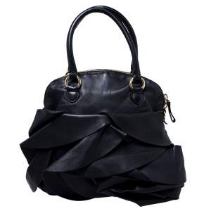 Valentino Black Leather Petale Dome Satchel