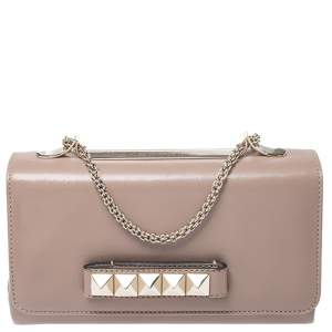 Valentino Beige Leather Medium Va Va Voom Chain Shoulder Bag
