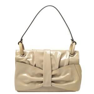 Valentino Beige Patent Leather Flap Shoulder Bag