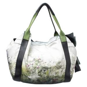 Valentino Green/Black Printed Nylon and Leather Double Pocket Bow Tote