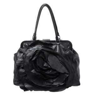 Valentino Black Leather Petale Rose Frame Bag