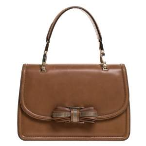 Valentino Tan Leather Flap Top Handle Bag