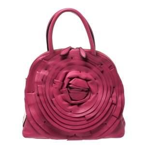Valentino Fuchsia Leather Petale Rose Dome Satchel