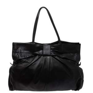 Valentino Black Leather Bow Tote