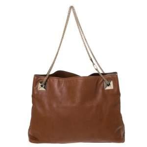 Valentino Brown Leather Chain Tote