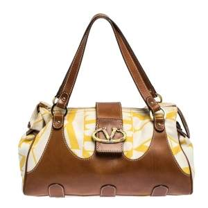 Valentino Yellow/Tan Canvas and Leather V Clasp Catch Satchel