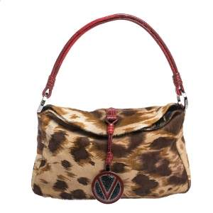 Valentino Brown/Red Printed Calfhair and Lizard V Ring Hobo