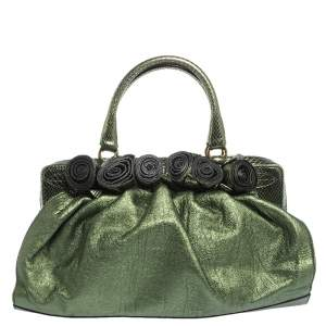 Valentino Metallic Green Leather and Python Effect Lacca Fleur Frame Satchel