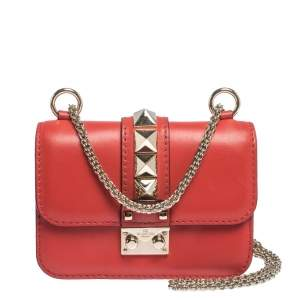 Valentino Red Leather Mini Glam Lock Shoulder Bag