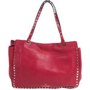 Valentino Red Grained Leather Medium Rockstud Trapeze Tote