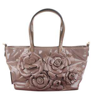 Valentino Two Tone Patent Leather Floral Applique Tote