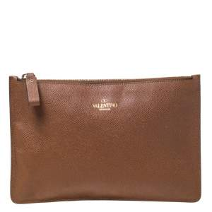 Valentino Brown Leather Zip Pouch