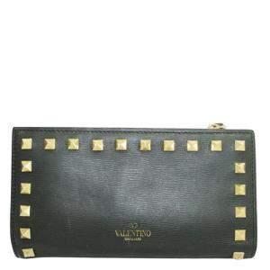 Valentino Black Leather  Rockstud Wallets