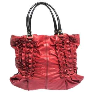 Valentino Red/Black Ruffle Leather Tote