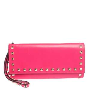 Valentino Neon Pink Leather Rockstud Wristlet Flap Clutch