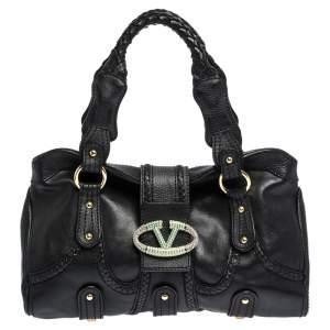 Valentino Black Leather Crystal Embellished Catch Satchel