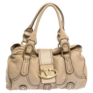 Valentino Beige Soft Leather Catch Satchel