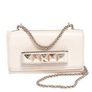 Valentino Vanilla Leather Mini Va Va Voom Chain Clutch