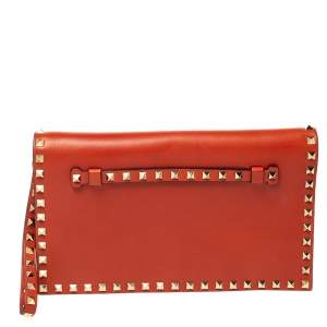 Valentino Orange Leather Rockstud Wristlet Clutch