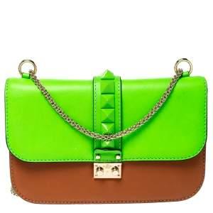 Valentino Green/Tan Leather Rockstud Medium Glam Lock Flap Bag